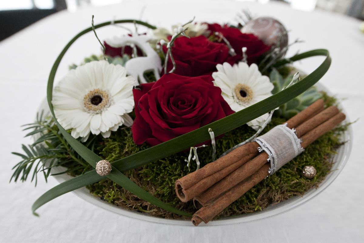 juldekorationer med blommor